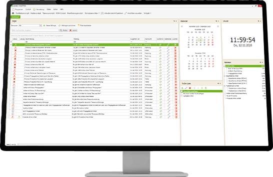 Anwendungsuebersicht PIM-System FASTPIM mit Kalender und Uhrzeit